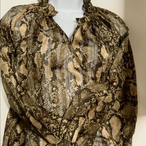 H&M Snakeskin Print Button-Up Top